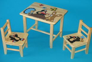 Obrázok Detský drevený stôl so stoličkami - Krtko