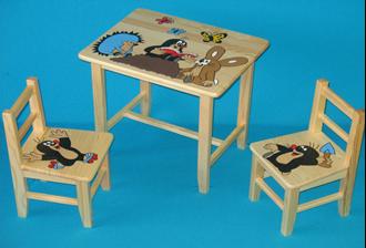 Obrázok z Detský drevený stôl so stoličkami - Krtko