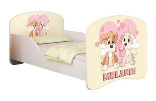 Obrázok Detská posteľ - Zamilovaní psíkovia + meno