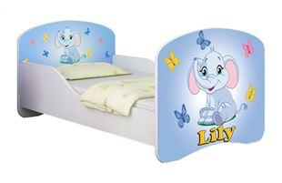 Obrázok Detská posteľ - Modrý sloník + meno