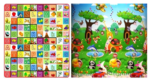 Obrázok Detský obojstranný penový koberec - Zvieratká a abeceda 200x180 cm
