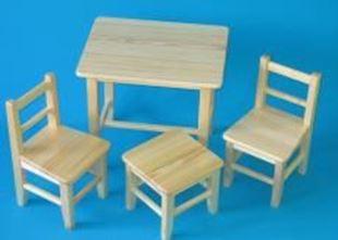 Obrázok Detský drevený stôl so stoličkami - Prírodné
