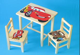 Obrázok Dětský dřevěný stůl se židlemi - Auta