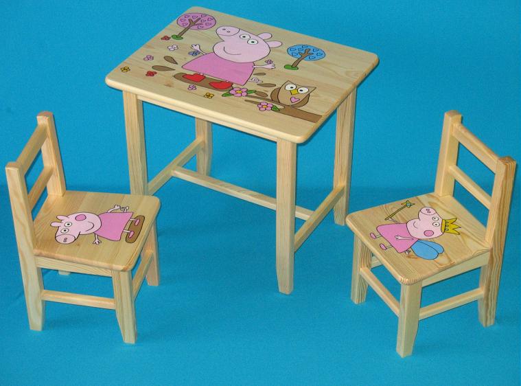3482f536e2b3 Detský drevený stôl so stoličkami - Prasiatko Pepina. Bambulin.sk ...