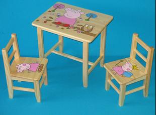 Obrázok Detský drevený stôl so stoličkami - Prasiatko Pepina