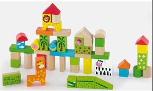 Obrázok Dřevěné kostky 50 kusů  - ZOO