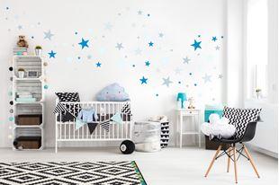 Obrázok Dekorácia na stenu Hviezdičky - sivá / modrá