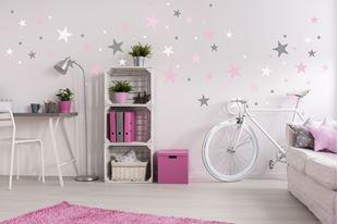 Obrázok Dekorácia na stenu Hviezdičky - sivá / ružová