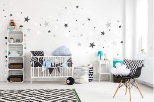 Obrázok Dekorace na zeď Hvězdičky - šedá/bílá