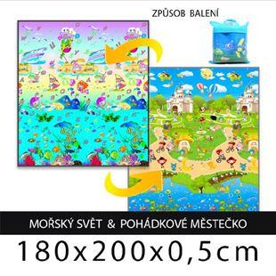 Obrázok Detský penový koberec - morský svet + rozprávkové mestečko 180x200x0,5cm