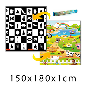 Obrázok Detský penový koberec - šachovnica + farma 150x180x1 cm
