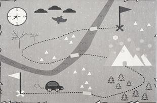 Obrázok Detský koberec Mapa pokladov striebornošedý 100x160 cm