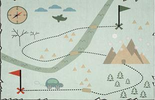 Obrázok Detský koberec Mapa pokladov mätový 100x160 cm