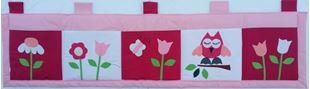 Obrázok Vreckár za posteľ veľký 200x50 cm - sovička a kvetinky