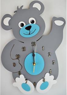 Obrázok Detské drevené hodiny Medvedík