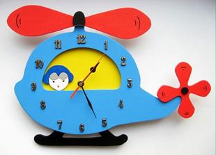 Obrázok Detské drevené hodiny Vrtuľník