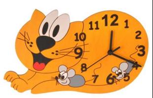 Obrázok Dětské dřevěné hodiny Kočka