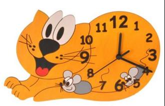 Obrázok z Dětské dřevěné hodiny Kočka