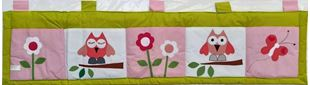 Obrázok Vreckár za posteľ veľký 200x50 cm - Sova a kvetinky