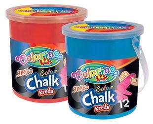 Obrázok Kriedy chodníkové farebné guľaté Set 12ks v plastovom vedierku