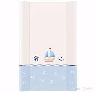 Obrázok Pevná prebaľovacia podložka 50x70 cm Loďka - Bielo-modrá