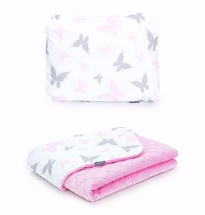 Obrázok Detská deka s vankúšom Motýliky Velvet 75x100 cm - Ružová - rôzne varianty