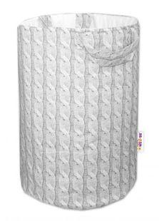 Obrázok Bavlnený kôš na hračky Pletený vrkoč - sivý