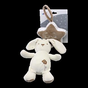 Obrázok Závesná plyšová hračka túlil s melódiou Králíček, 35 cm - smotanový