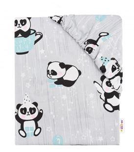 Obrázok Detské bavlnené prestieradlo do postieľky - Happy Panda - mätové