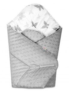 Obrázok Obojstranná zavinovačka 75x75cm s Minky Motýliky - šedá