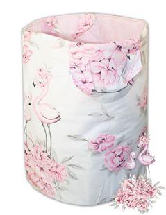 Obrázok Bavlnený kôš na hračky Plameniak - ružový