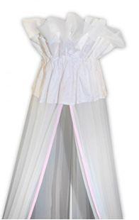 Obrázok Luxusné moskytiéra 160x400 cm - Medvedík Maxik - biela, ružové hviezdičky