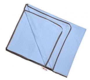 Obrázok Letná deka s mini brmbolcami, jersey, 100 x 75 cm - sv. modrá / šedý lem