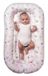 Obrázok Maxi obojstranné hniezdočko pre bábätko Srdiečka a hviezdičky - ružový