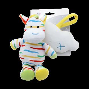 Obrázok Závesná plyšová hračka s melódiou Zebra s mráčika, 35 cm - žlto / biela
