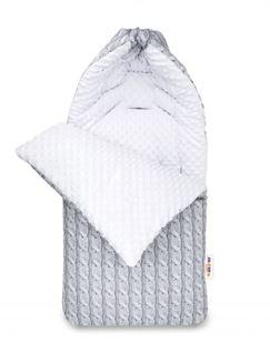 Obrázok Bavlnený fusak Minky, Pletený vrkoč, 45 x 95 cm - sivý / Minky biela