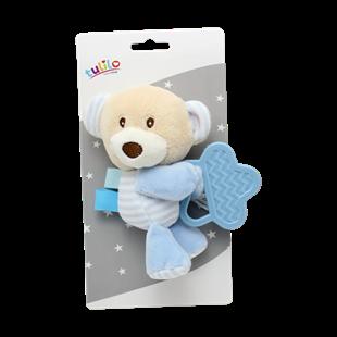 Obrázok Plyšová hračka s hryzátkom Medvedík, 16 cm - modrý