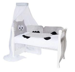 Obrázok Mantinel s obliečkami a nebesami Animal, 120x90 - Sova šedá