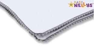 Obrázok Letná deka s mini brmbolcami, jersey, 100 x 75 cm - biela / šedý lem