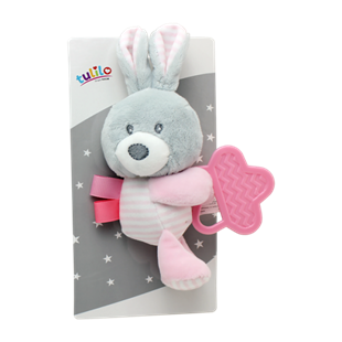 Obrázok Plyšová hračka s hryzátkom Králíček, 16 cm - ružový