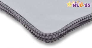 Obrázok Letná deka s mini brmbolcami, jersey, 100 x 75 cm - šedá / šedý lem
