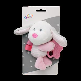 Obrázok Plyšová hračka s hryzátkom Psík, 16 cm - ružový