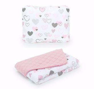 Obrázok z Detská deka s vankúšom Srdiečka Velvet 75x100 cm - Ružová - rôzne varianty