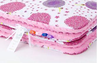 Obrázok z Detská deka s vankúšom Púpava Minky 75x100 cm - Ružová s výplňou