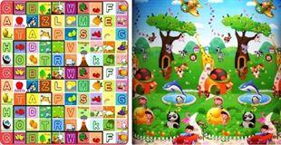 Obrázok Detský obojstranný penový koberec - Ovocná abeceda-zoo 200x180x1 cm