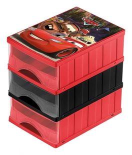 Obrázok Boxy na hračky - súprava 3 šuplíkov CARS