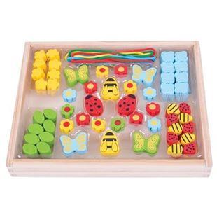 Obrázok Drevené hračky - Navliekacie korálky Lúka