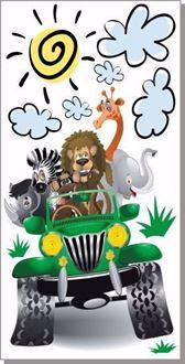 Obrázok z Zelený jeep safari zvieratká, príroda samolepka na stenu