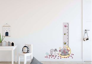 Obrázok Meter na stenu - Medvedíky na nechtíka a kytičky