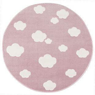 Obrázok Detský koberec mráčky - ružová / biela 133cm